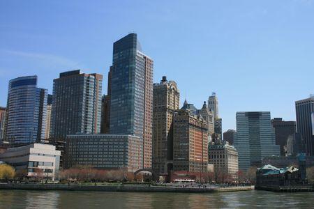 New Yorks Battery Park City skyline along the Hudson River.