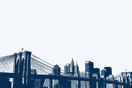 ブルックリン橋とマンハッタンのスカイラインのイラスト。