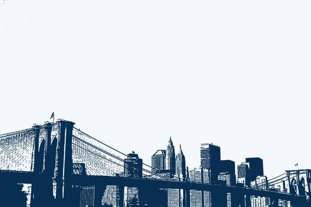 Illustration of the Brooklyn Bridge and Lower Manhattan skyline. Imagens