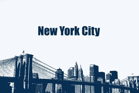 new york skyline: Illustration of the Brooklyn Bridge and Lower Manhattan skyline. Stock Photo
