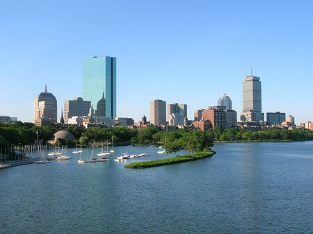 charles: Bostons Back Bay skyline including the Hatch Shell Stock Photo