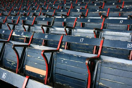 Seats at Bostons Fenway Park.