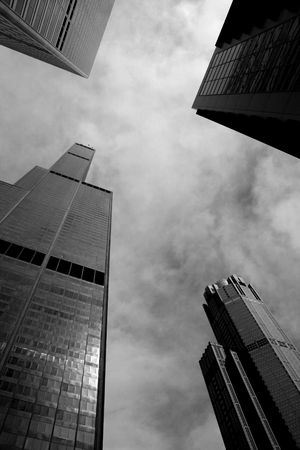 sears: Looking up at Chicago architecture including the Sears Tower.