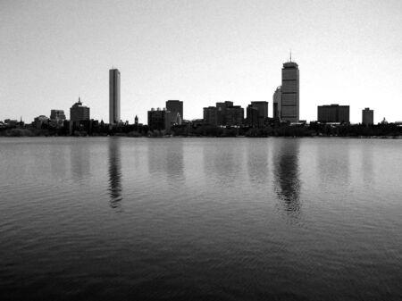 Bostons Back Bay skyline along the Charles River. Stock Photo