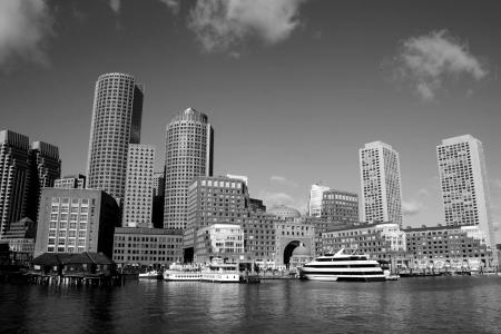 Boston skyline as seen from Boston Harbor.