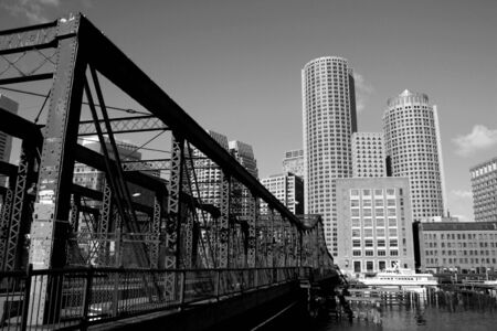 Old Northern Bridge crossing Boston Harbor.  Stock Photo