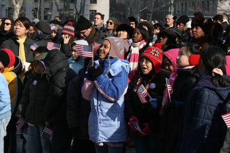 feestelijke opening: New York City, VS - 20 januari 2009 - kinderen het presidentieel installatie van Barack Obama te vieren.