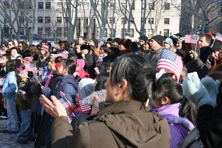 feestelijke opening: New York City, VS - 20 januari 2009 - personen het presidentieel installatie van Barack Obama te vieren.