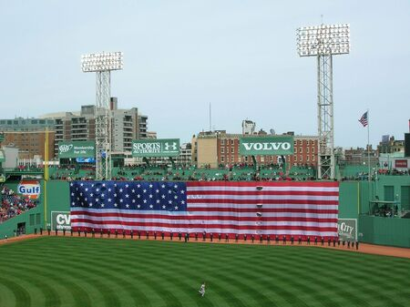 Boston, Massachusetts, USA - April 20th, 2009 - Pre-game ceremonies before a baseball game at Fenway Park. Editorial