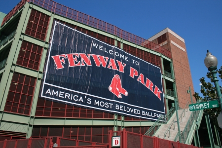 Boston, Massachusetts, USA - April 20th, 2009 - Sign outside of the Fenway Park.