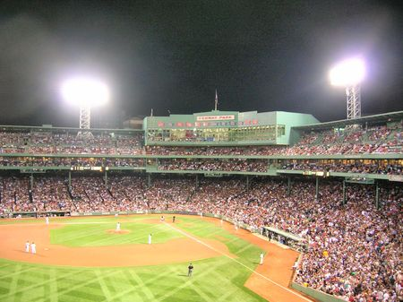 baseball crowd: Boston, Massachusetts, USA - August 22nd, 2009 - A night game at Fenway Park.