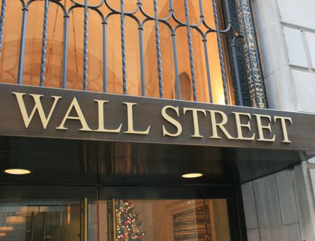 New York City, USA - February 15th, 2009 - Wall Street sign in Lower Manhattan.