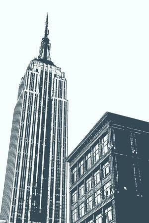 new york skyline: Illustration of the Empire State Building