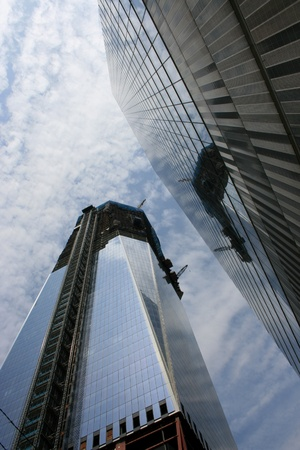New York, New York, July 23, 2011 - Construction of One World Trade Center (formerly known as the Freedom Tower).
