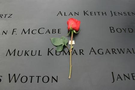 New York City, USA - September 17, 2011 - Flower left at the National 9/11 Memorial at Ground Zero.