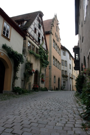 europeans: A street in Rothenburg ob der Tauber, Germany  Stock Photo