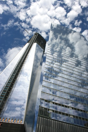 New York City, USA - May 13, 2012 - Construction of One World Trade Center next Building Seven at Ground Zero.