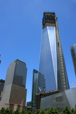 New York City, USA - May 19, 2012 - Construction of One World Trade Center surpasses 100 stories.