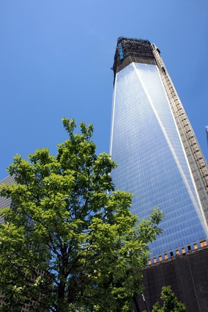 New York City, USA - May 19, 2012 - Construction on One World Trade Center at Ground Zero.