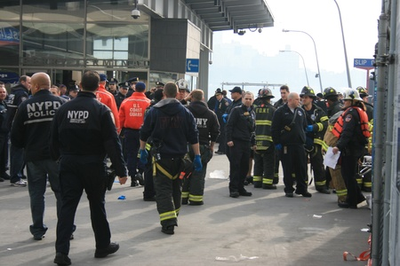 New York City, USA - January 9, 2013 - First responders waiting to help people hurt in a Ferry Accident.