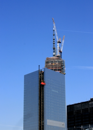 New York City, USA - May 2, 2013 - Spire on top of World Trade Center Tower One is completed.