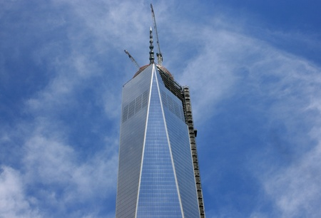 New York City, USA - May 10, 2013 - World Trade Center Tower One is topped off with completion of the spire.