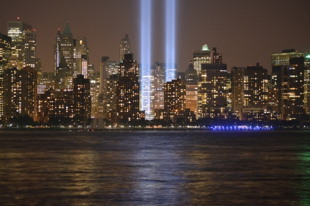 Tribute in Light in Lower Manhattan along the East River