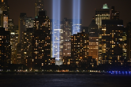 Tribute in Light in Lower Manhattan along the Hudson River