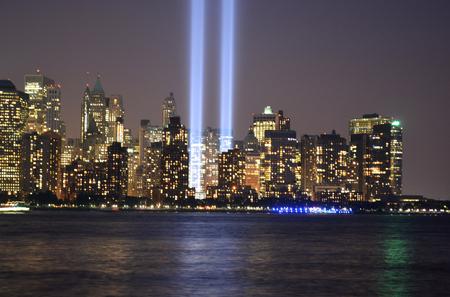 Tribute in Light and Lower Manhattan skyline