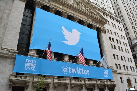 public offering: New York City, USA - November 7, 2013 - New York Stock Exchange banner marking Twitters IPO  Editorial
