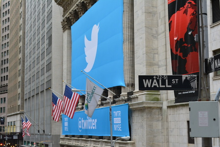 new ipo: New York City, USA - November 7, 2013 - New York Stock Exchange banner marking Twitters IPO  Editorial