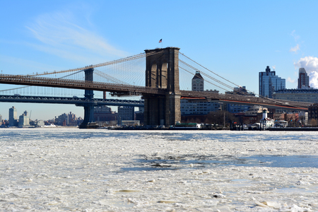 Ice on the East River because of freezing temperatures in New York City