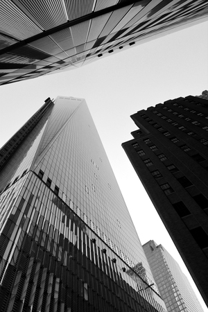 New York City, USA - April 6, 2014 - Looking up at World Trade Center Towers One and Seven  Editorial