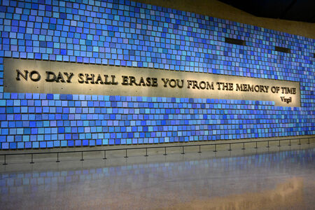New York City, USA - May 17, 2014 - Memorial Hall in the National 9 11 Memorial Museum at Ground Zero