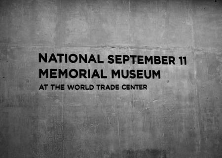 New York City, USA - May 17, 2014 - Sign at the entrance to the National 9 11 Memorial Museum at Ground Zero