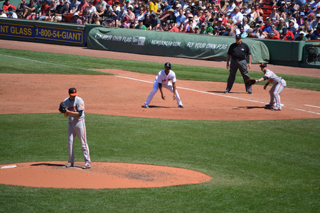 Boston Massachusetts, USA - July 6, 2014 - A Major League Baseball game at Fenway Park