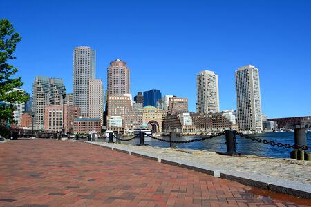 Boston skyline along the harbor