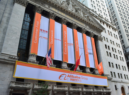 New York City, USA - September 19, 2014 - Banner on the Stock Exchange marking the IPO of the Alibaba Group.
