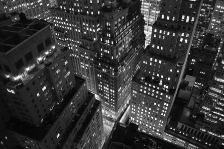 Lower Manhattan at night.