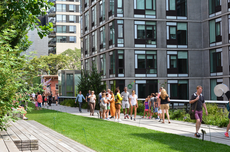 elevated walkway: New York City August 23 2015 - People walking on the High Line in Manhattan. Editorial