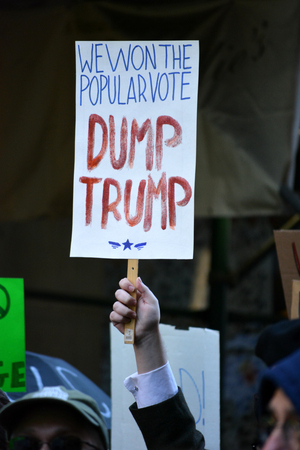 marching: New York City November 12 2016 - Trump is not my President protests marching through Manhattan.