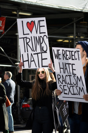 New York City November 12 2016 - Trump is not my President protest in New York City.