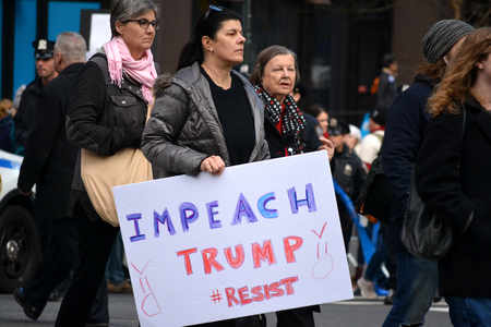 feminist: NEW YORK CITY January 21 2017 - People walking in the Womens March in New York City.