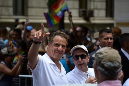 NEW YORK CITY June 25 2017 - Governor Andrew Cuomo marching the New York Pride Parade. Editorial