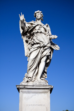 unemotional: Girolamo Lucenti (1627–1692) was an Italian sculptor of the Baroque period, active in Rome. His unemotional angel at the Ponte SantAngelo is a reflection of an Algardian-restraint for an exuberant Bernini project.