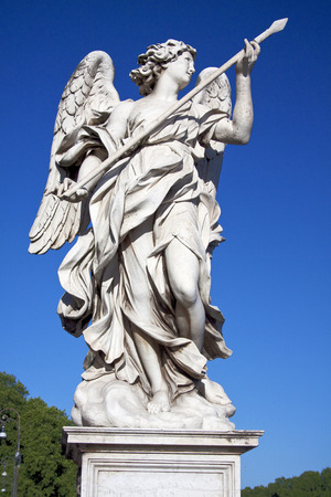 tevere: Angel with spear sculpture created by Domenico Guidi for the Via Crucis of Lorenzo Bernini in Castel St. Angelo in Rome. Stock Photo