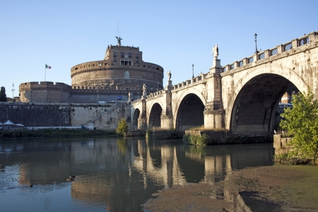 Castel Sant'Angelo from left side of the Tiber, Rome, Italy