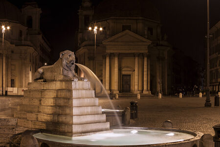 The fountain represents one of the four main rivers of the world. Piazza del Popolo, Rome, Italy. Reklamní fotografie