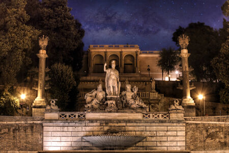 est: Fountain of the God of Rome on the est side of Piazza del Popolo under the Pincio park, Rome, Italy.  Stock Photo