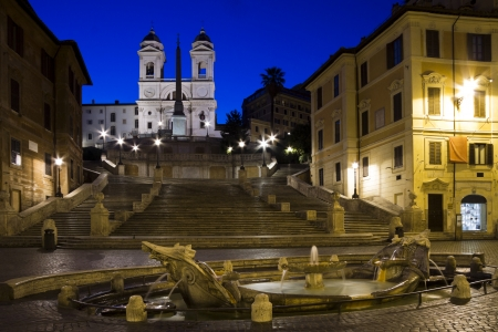 Sunrise at the Spanish steps in Rome, Italy photo